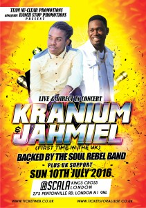 reggae concert at Scala, London featuring Kranium & Jahmiel 2016